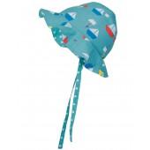 Reversible Ditsy Hat, Aqau Sailboats
